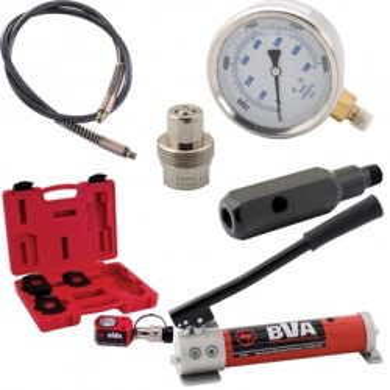 Combo: pump + cylinder + coupler + hose + gauge (adapter)