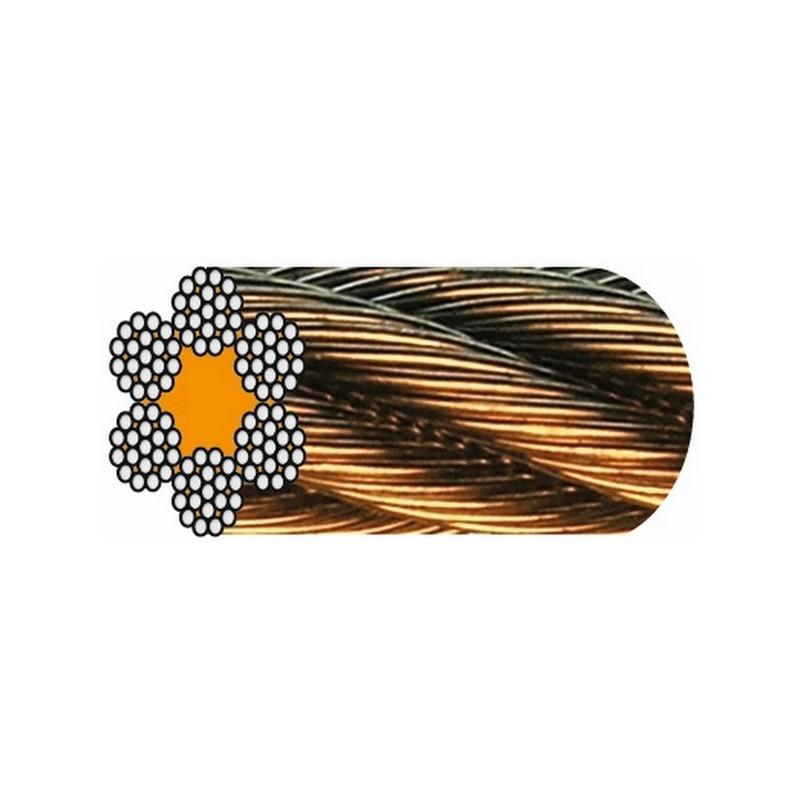CÂBLE GALVA 6 torons de 19 fils (1 + 6 +12 fils) - Âme textile
