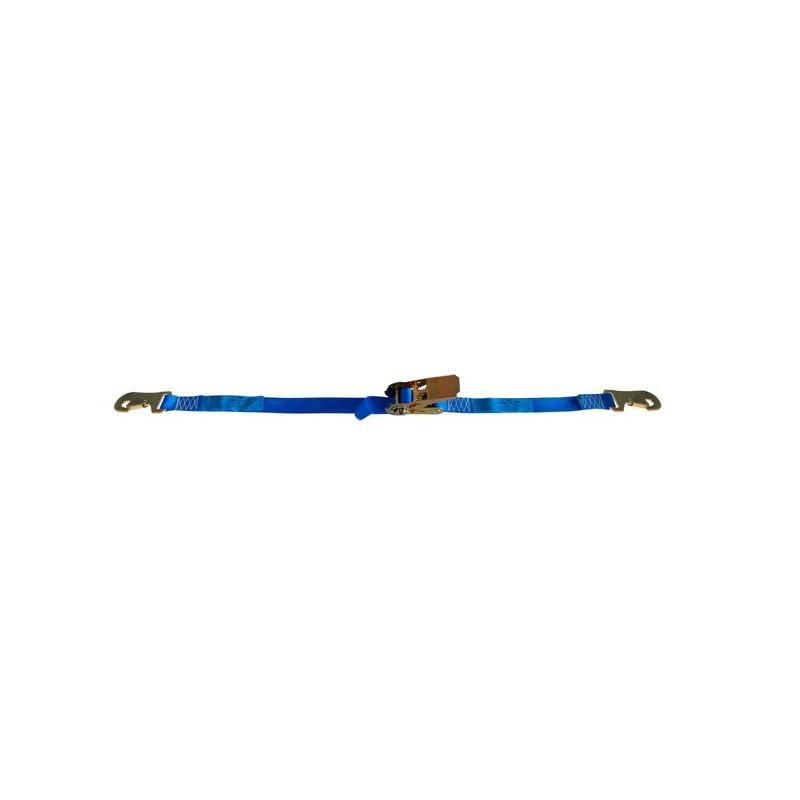 SANGLE D'ARRIMAGE EXTÉRIEUR POLYESTER - LARGEUR 25MM - Boucle à rochet (tendeur à cliquet) + 2 crochets mousqueton