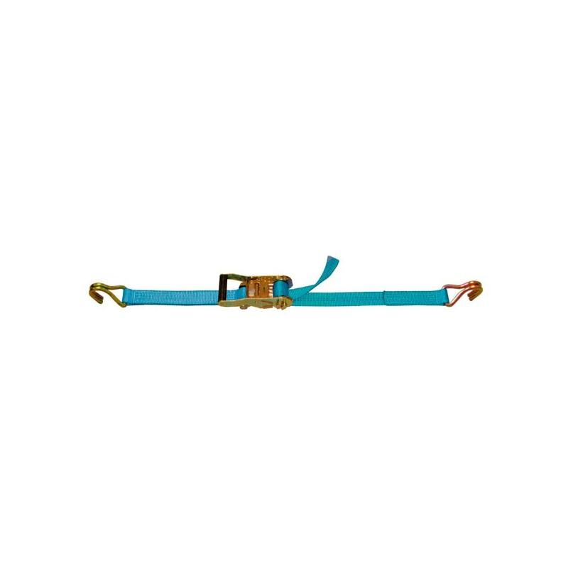 SANGLE D'ARRIMAGE EXTÉRIEUR POLYESTER - LARGEUR 35MM - Boucle à rochet (tendeur à cliquet) + 2 crochets doubles soudés