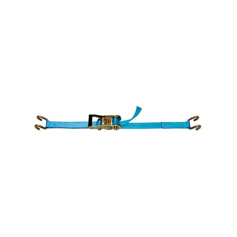 SANGLE D'ARRIMAGE EXTÉRIEUR POLYESTER - LARGEUR 35MM - Boucle à rochet (tendeur à cliquet) + 2 crochets bord de rive