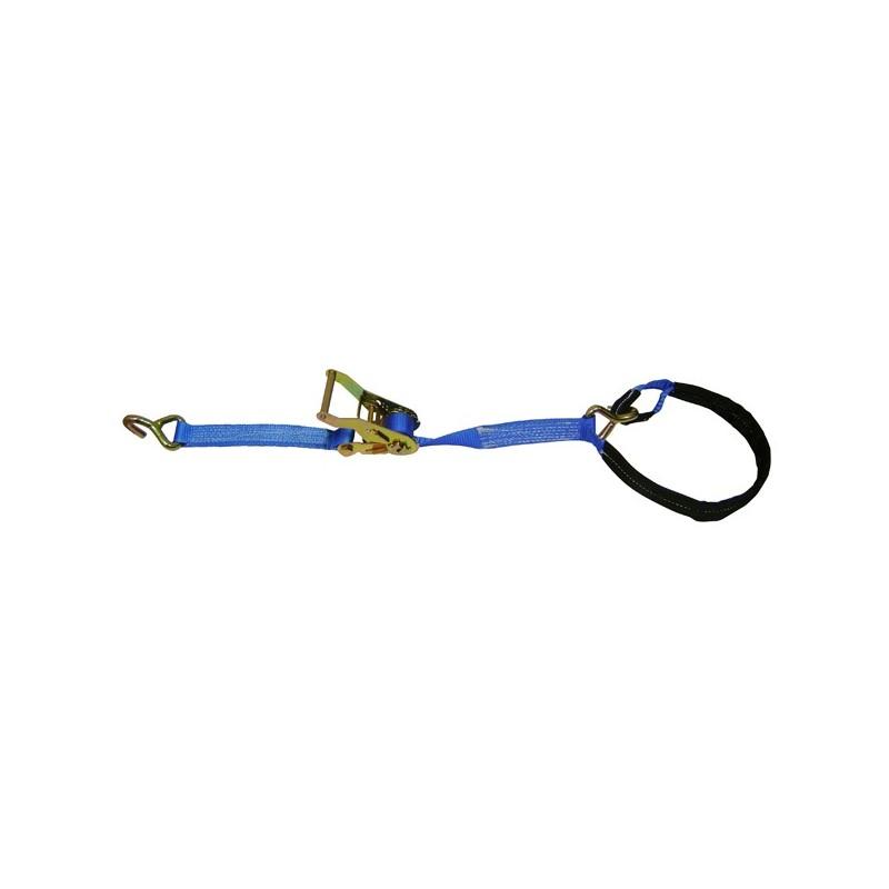 SANGLE D'ARRIMAGE EXTÉRIEUR POLYESTER - LARGEUR 35MM - Boucle à rochet (tendeur à cliquet) + 2 crochets 1 fil + boucle cousue