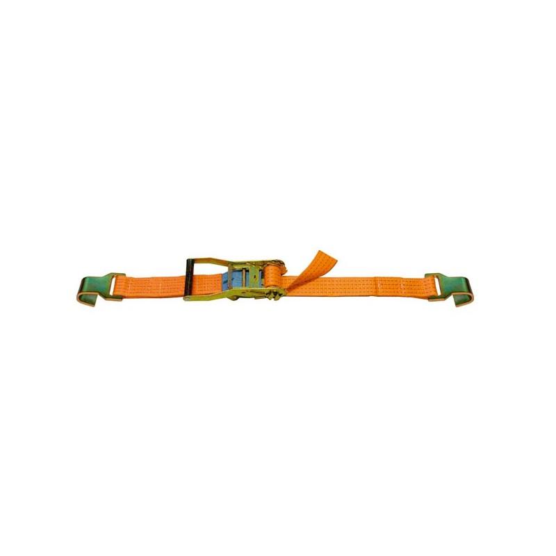 SANGLE D'ARRIMAGE EXTÉRIEUR POLYESTER - LARGEUR 50MM - Boucle à rochet (tendeur à cliquet) + 2 crochets plats
