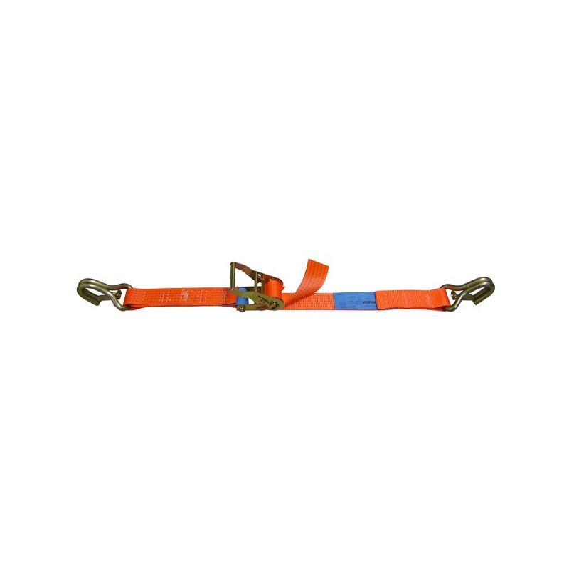 SANGLE D'ARRIMAGE EXTÉRIEUR POLYESTER - LARGEUR 50MM - Boucle à rochet (tendeur à cliquet) + 2 crochets de sécurité