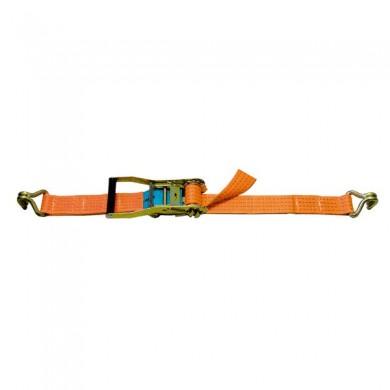 SANGLE D'ARRIMAGE LARGEUR 50MM - TMU 2500KG - Boucle à rochet + 2 crochets doubles soudés