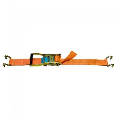 SANGLE D'ARRIMAGE LARGEUR 50MM - TMU 2500KG - Boucle à rochet + 2 crochets doucble soudés