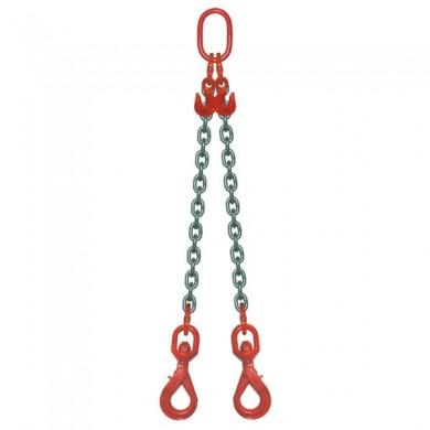 ÉLINGUE CHAÎNE 2 brins - réglable à 2 crochets verouillage automatique à touret Grade-80