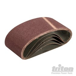 Bandes abrasives 64 x 406 mm grain 80 - Lot de 5 pièces