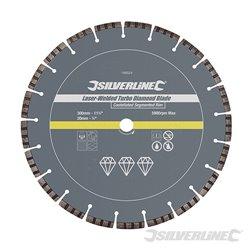 Disque diamant soudé au laser Turbo 300 x 20 mm à bordure segmentée crénelée