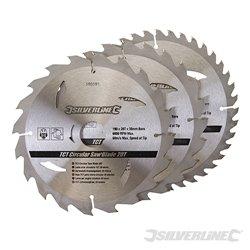 Lot de 3 lames TCT pour scie circulaire : 20, 24 et 40 dents - 190 x 30 mm