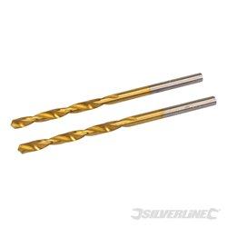 3,2 mm - Jeu de 2 mèches en acier rapide HSS titanées