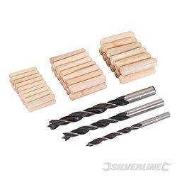 Chevilles et mèches à bois 47 pcs 6, 8 et 10 mm