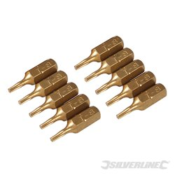 Lot de 10 embouts T8 dorés