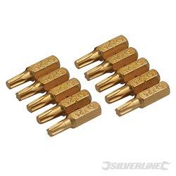 Lot de 10 embouts T25 dorés