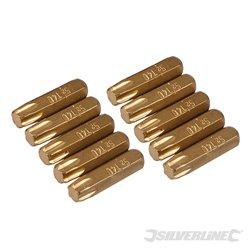Lot de 10 embouts T40 dorés