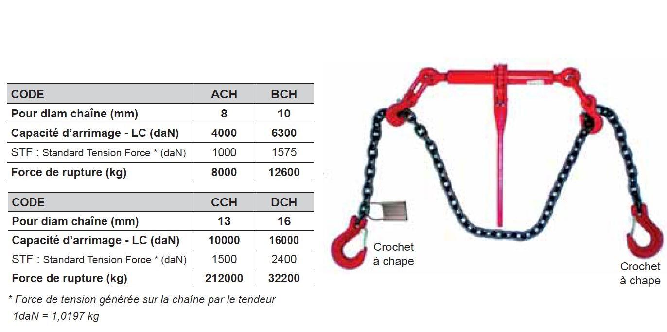 ENSEMBLE D'ARRIMAGE HAUTE RÉSISTANCE : Tendeur crochets + Chaîne grade 80
