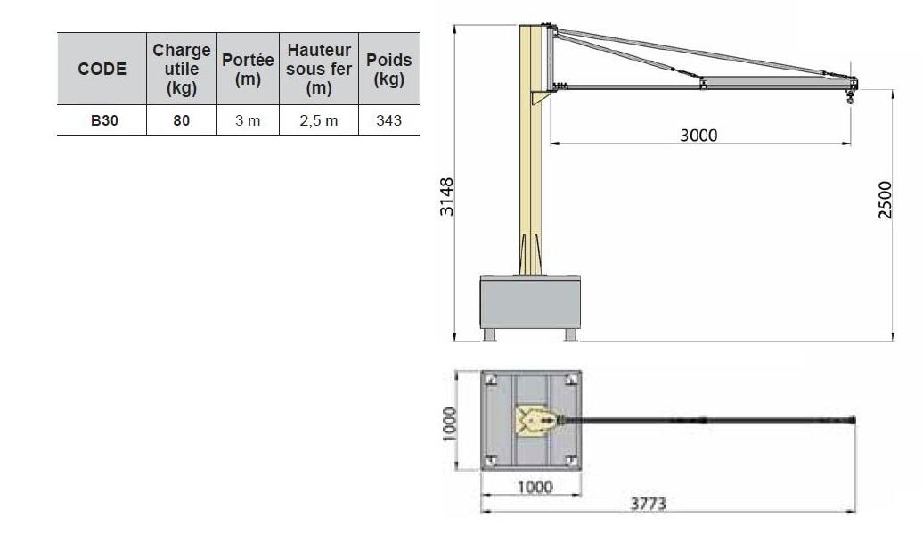 Potence sur fût à flèche triangulée (profil creux) pour service intérieur